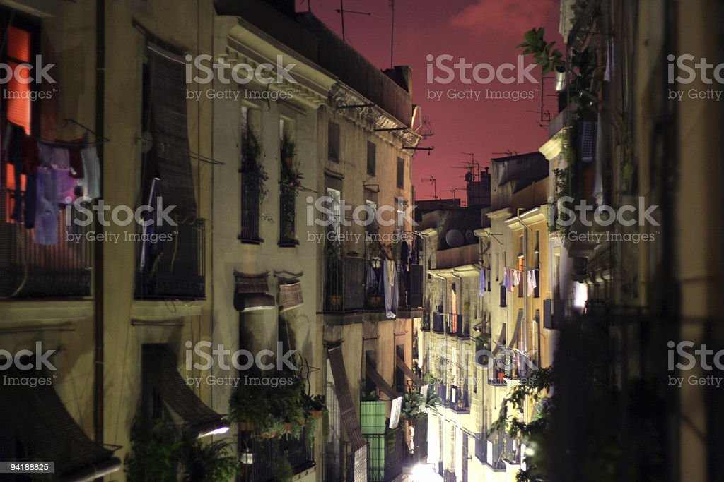 barcelona by night stock photo