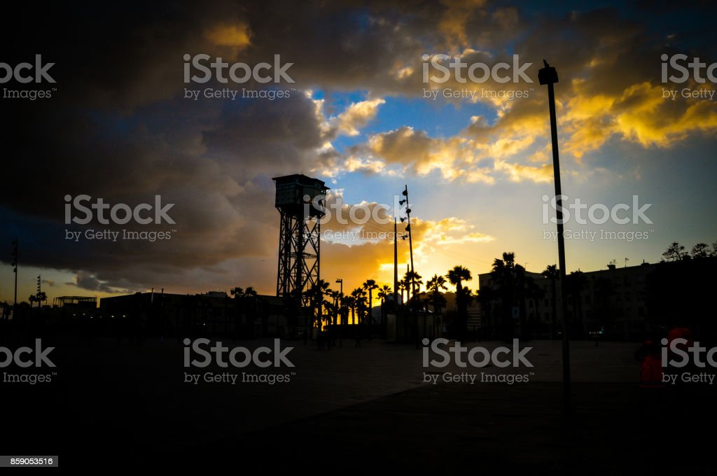 Barcelona cable car at sunset stock photo