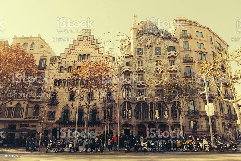Barcelona, Casa Batllo i Casa Ametller vintage stock photo