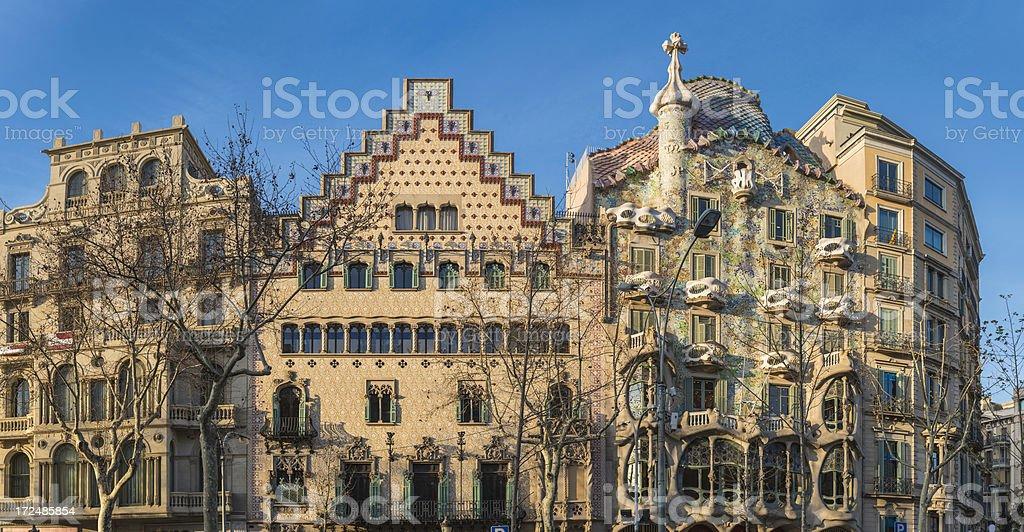 Barcelona Casa Batllo Passeig de Gracia Gaudi houses panorama Spain stock photo
