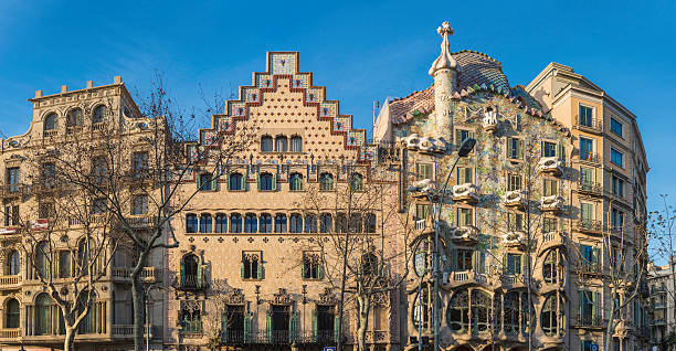 Barcelona Casa Batllo Passeig de Gracia Gaudi houses panorama Spain