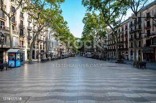 Barcelona, Catalonia / Spain: 04 09 2020: Calle de las Ramblas in Barcelona empty due to confinement in the city of Barcelona during the covid-19 coronavirus pandemic