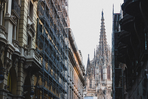 Barcelona Cathedral in the end of the street