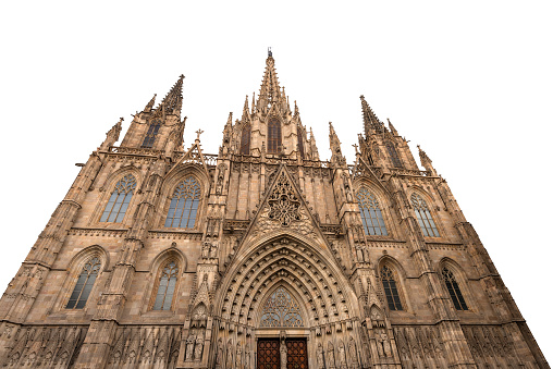 Barcelona Cathedral isolated on white background - Spain