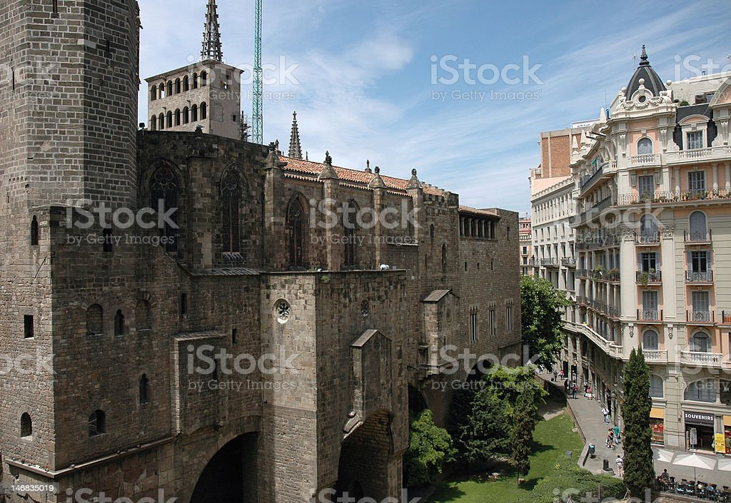 Barcelona Cathedral wall stock photo