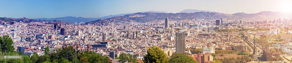 Barcelona city aeral panoramic view, Spain stock photo