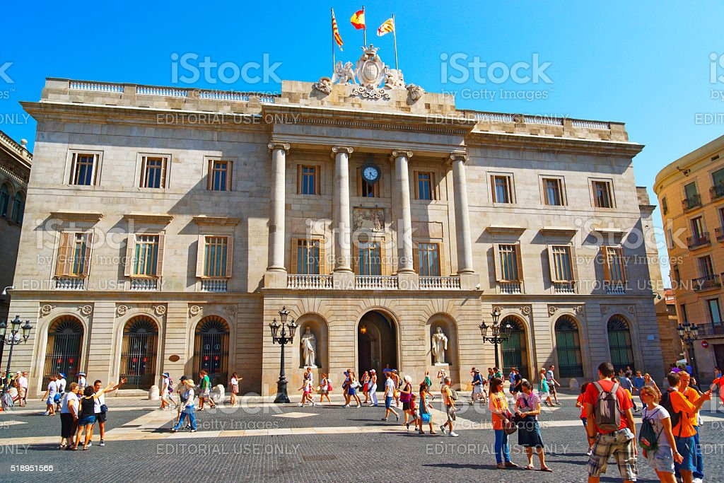 Barcelona City Hall in the Gothic Quarter in Spain stock photo