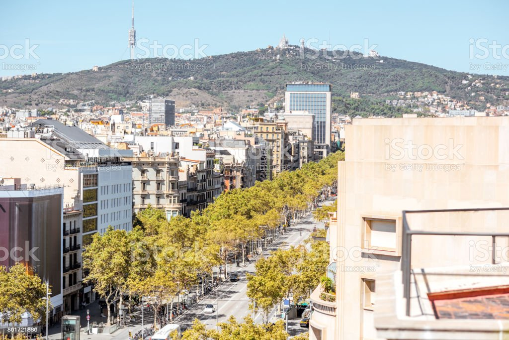 Barcelona city view stock photo