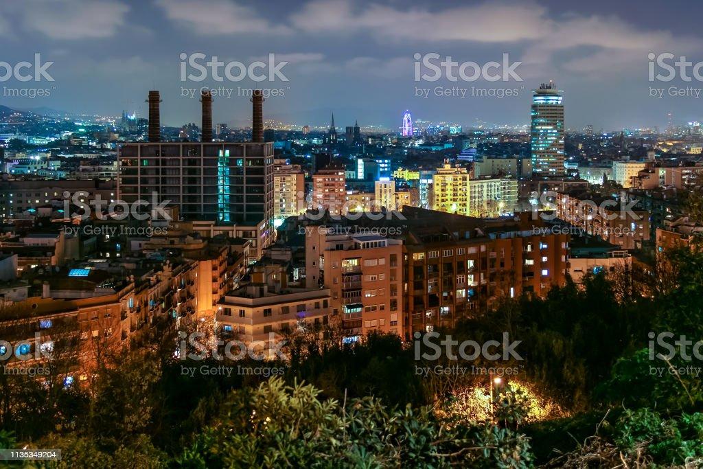 Barcelona cityscape at night stock photo