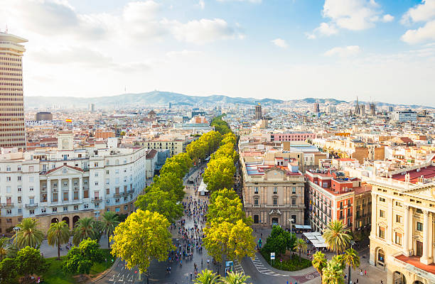 Barcelona cityscape with La Rambla stock photo