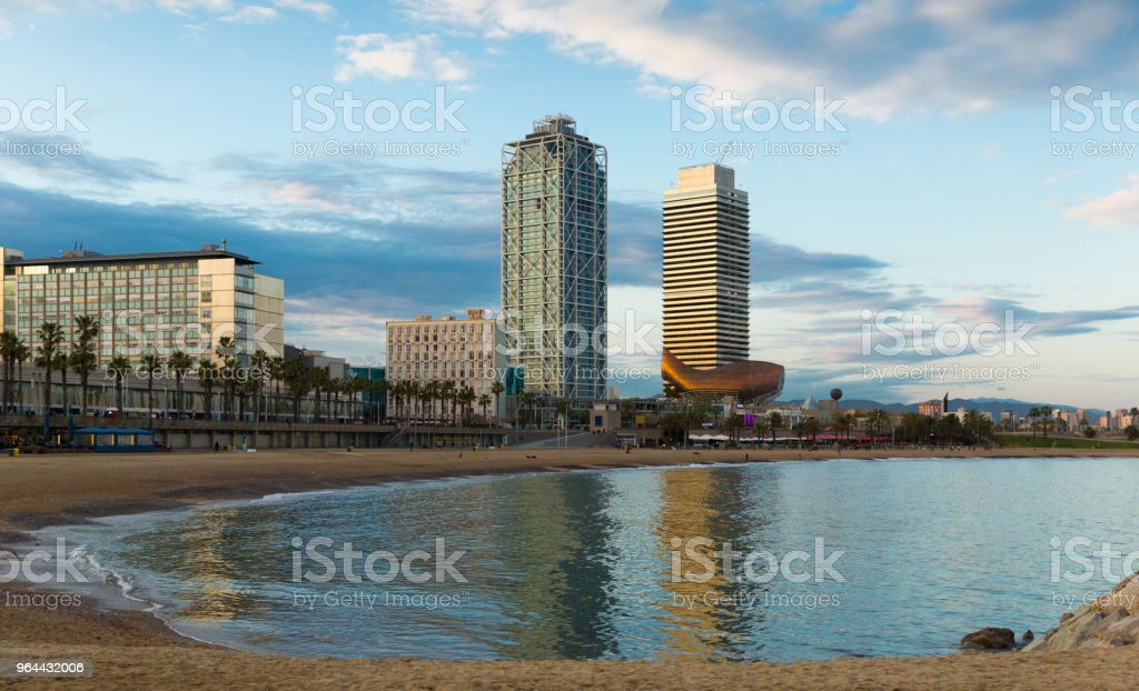 Barcelona cityscape with skyscrapers stock photo