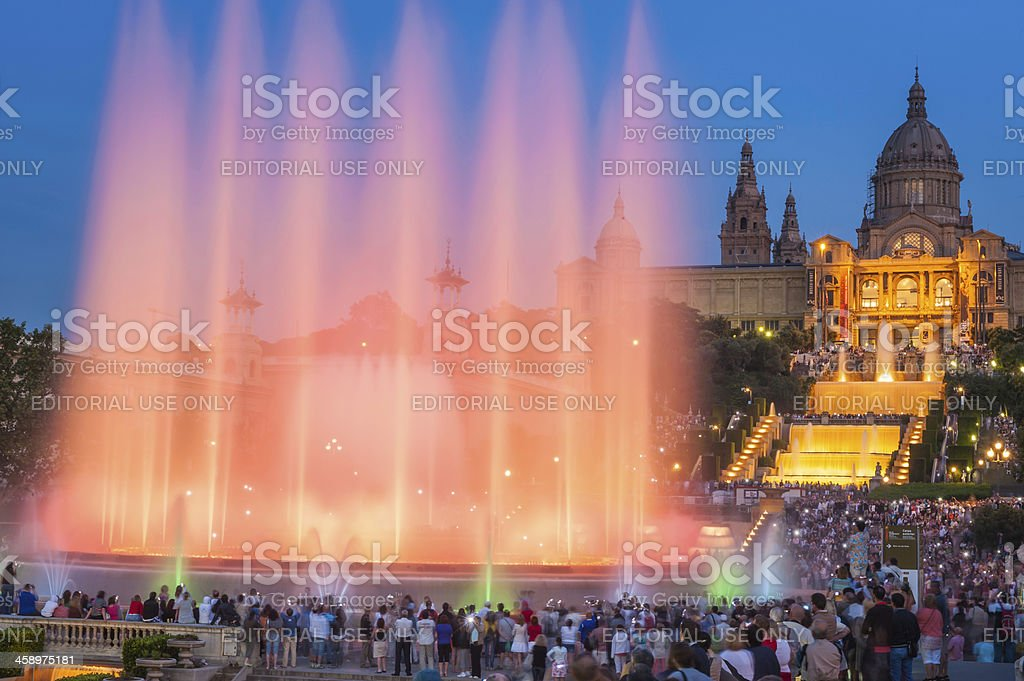 Barcelona crowds watching MNAC fountain light show stock photo