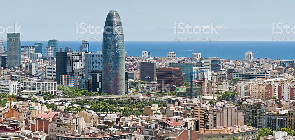 Barcelona downtown ocean skyscrapers Torre Agbar Poblenou panorama Catalonia Spain stock photo