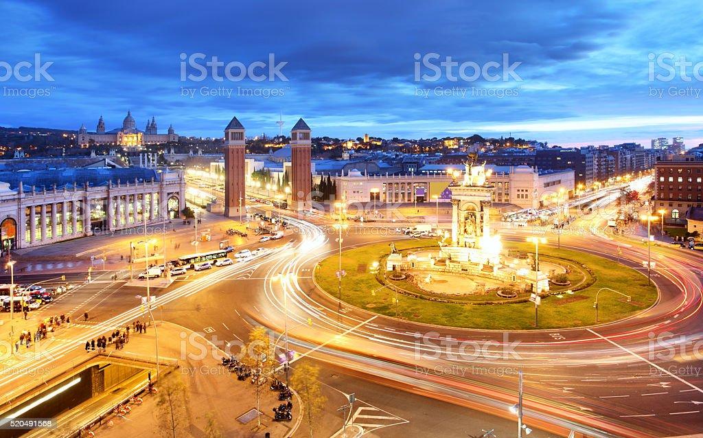 Barcelona - Espana square at night, Spain stock photo