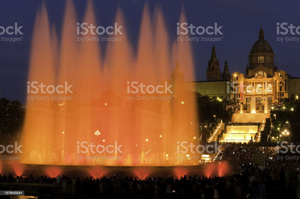 Barcelona Font Magica Magic Fountain MNAC Plaza Espana Catalonia Spain stock photo