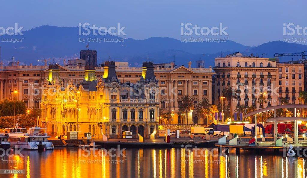 Barcelona from Port Vell in sunrise stock photo