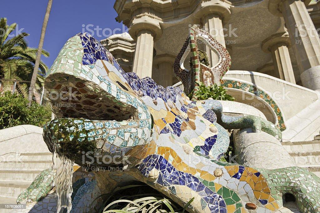 Barcelona Gaudí colorful mosaic dragon Parc Güell Catalonia Spain
