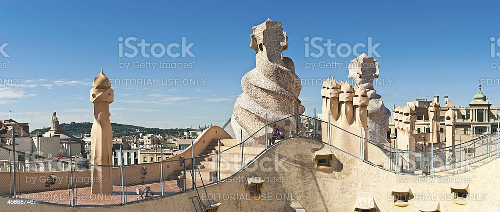 Barcelona Gaudi chimneys Casa Mila La Pedrera Spain stock photo