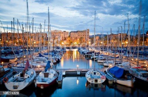 istock Barcelona Harbor at Dusk 108274329