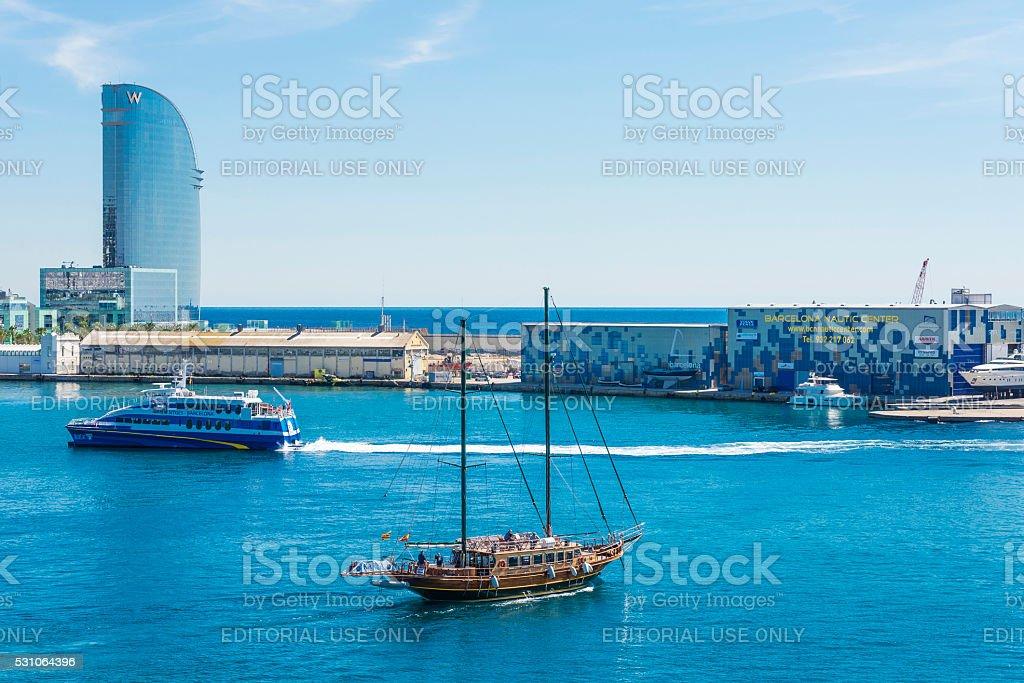 Barcelona harbor view stock photo