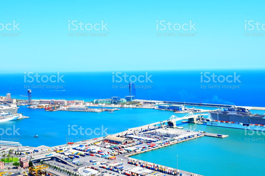 Barcelona harbour view stock photo
