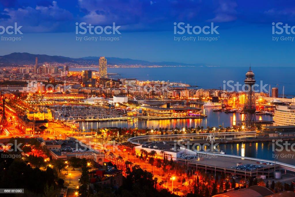 Barcelona in evening.  Spain stock photo