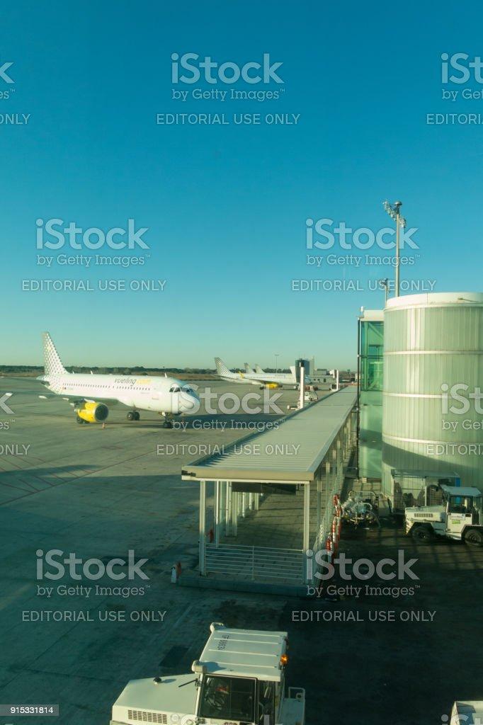 Barcelona International Airport El Prat interior . Airport is one of the biggest in Europe stock photo