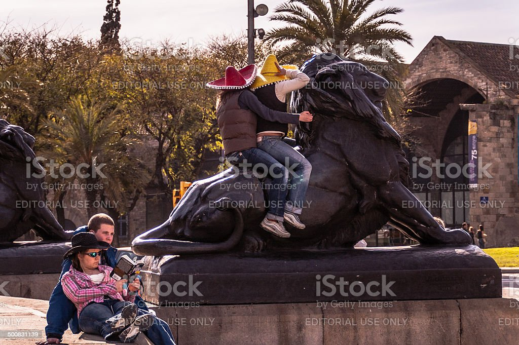 Barcelona Lion Statue royalty-free stock photo