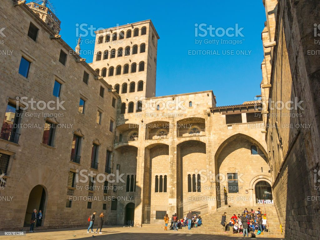 Barcelona: medieval Palau Reial (Royal Palace in catalan) at Placa del Rei (King's Square). Barcelona, Spain stock photo