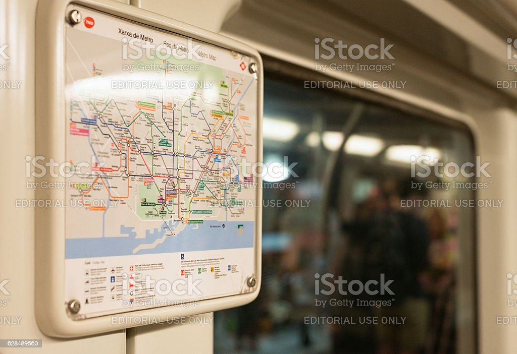 Subway Map Of Barcelona Spain.Barcelona Metro Map On Subway Train Stock Photo Download Image Now