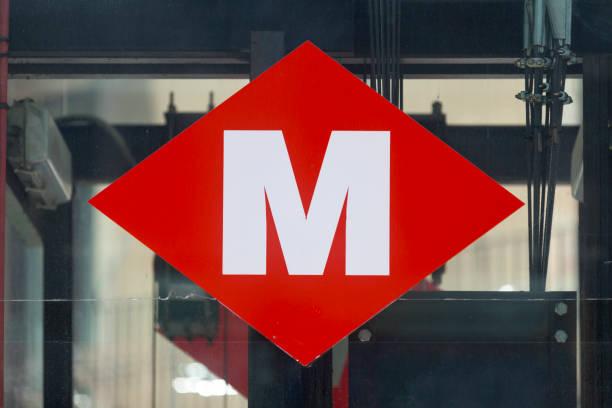 Barcelona Metro sign stock photo