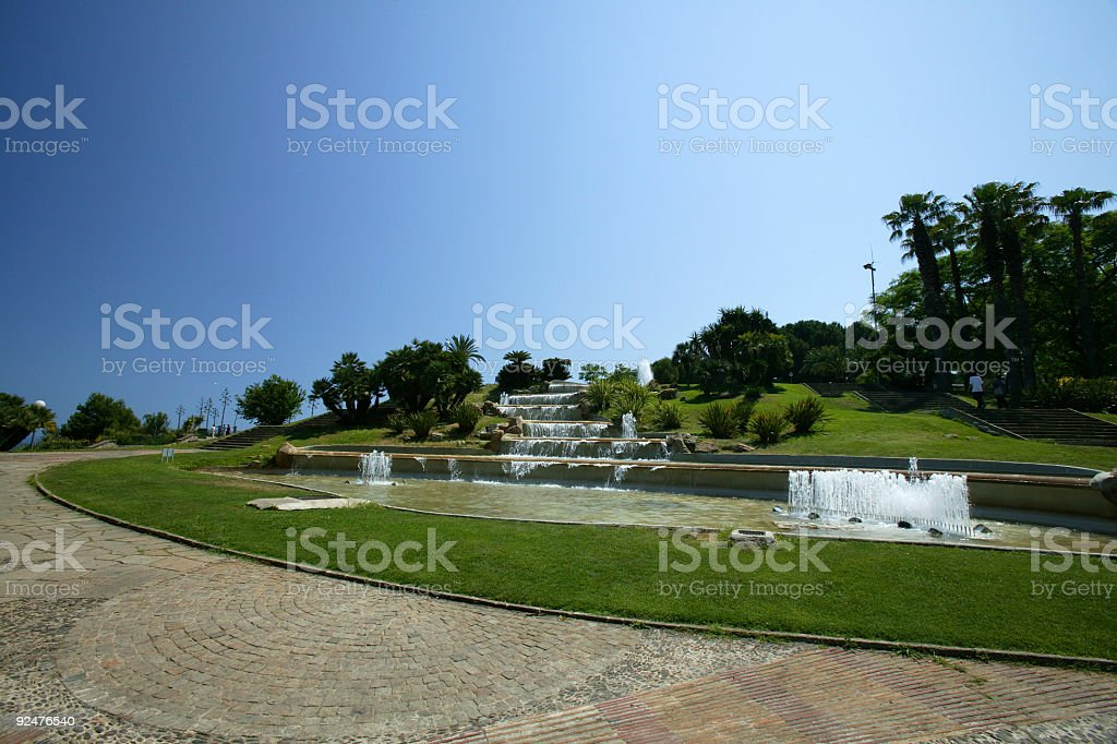 Barcelona Montjuic Park in Summer Spain royalty-free stock photo