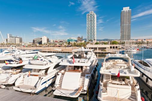 Barcelona motor boats yachts marina Port Olimpica harbour Catalunya Spain