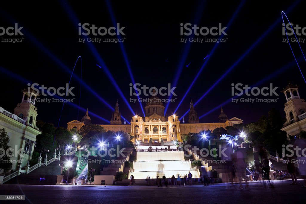 Barcelona night cityscape, Spain stock photo