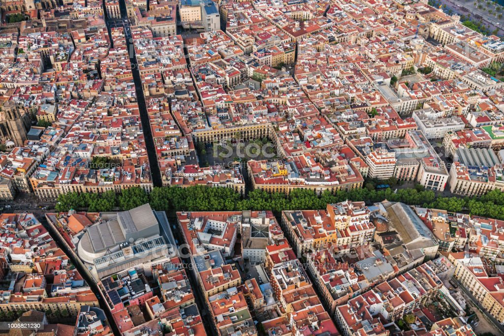 Barcelona Old Town Aerial View And Famous La Rambla Boardwalk Spain