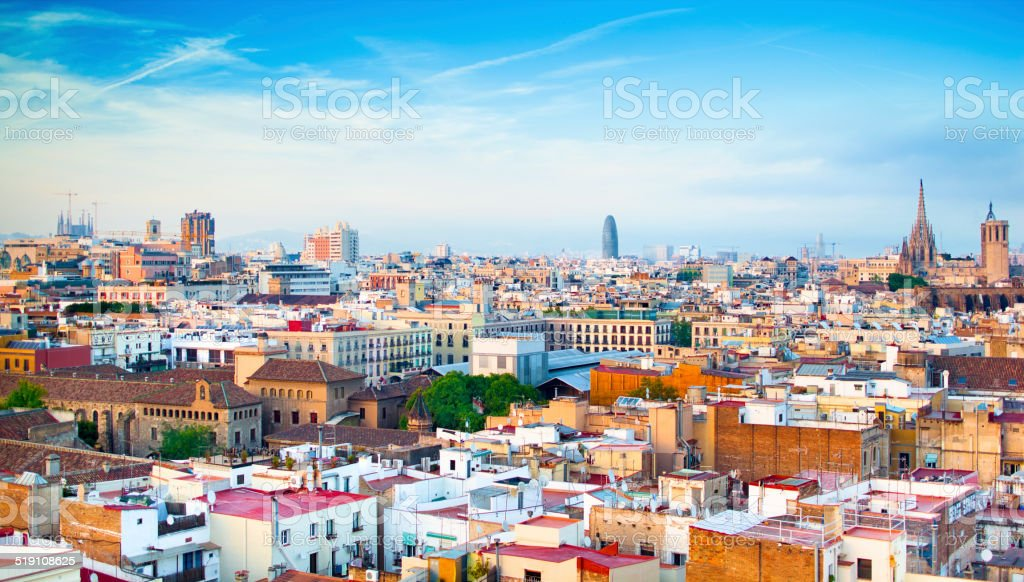 Barcelona panoramic cityscape stock photo