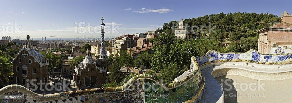 Barcelona Parc Güell Gaudí mosaic bench terrace panorama Catalonia Spain royalty-free stock photo