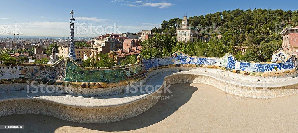 Barcellona Parc Guell Di Gaudi Mosaico Terrazza Panchina Panorama