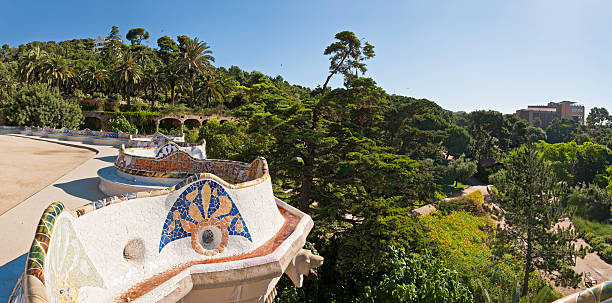 Barcelona Parc Güell Gaudí mosaic terrace panorama Catalonia Spain  gracia baur stock pictures, royalty-free photos & images