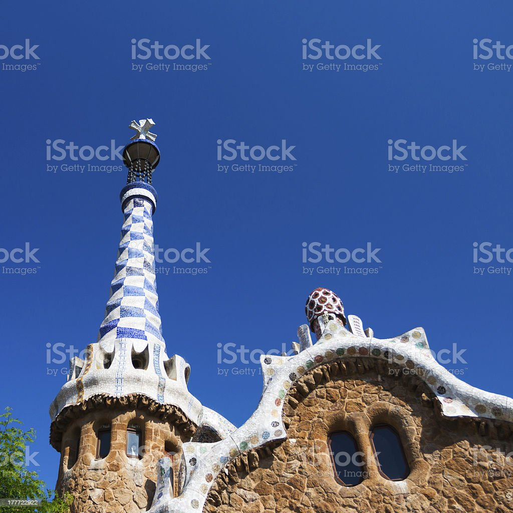 Barcelona Park Guell Gingerbread House of Gaudi royalty-free stock photo