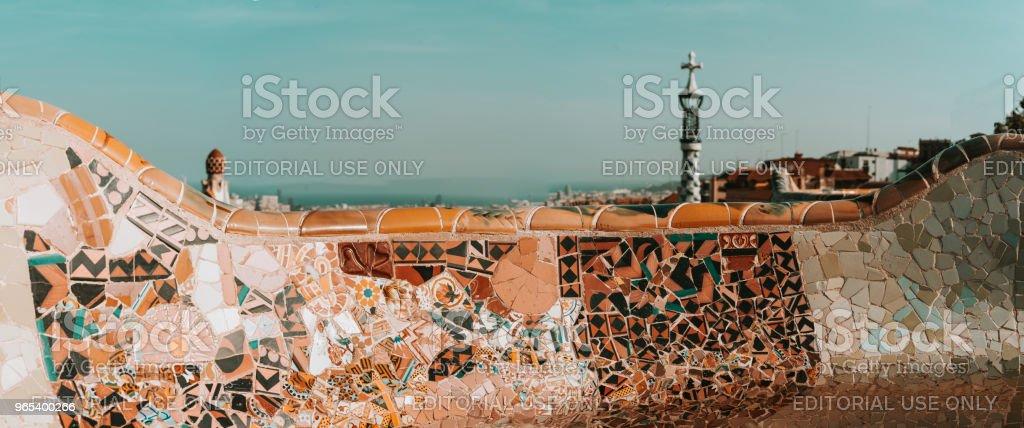 Barcelona Park Guell of Gaudi tiles mosaic serpentine bench modernism zbiór zdjęć royalty-free
