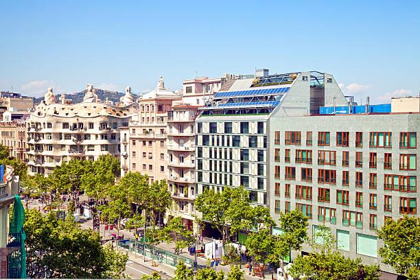 Barcelona Paseo de Gracia View of passeig de Gracia, the shopping street in Barcelona. Casa Mila (or La Pedrera), of Gaudi included. passeig de gracia stock pictures, royalty-free photos & images