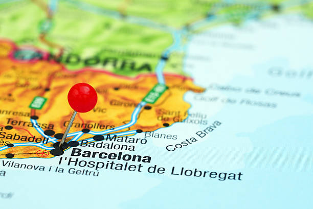 Barcelona Map Cartography Thumbtack Pictures Images And Stock - Barcelona map of europe