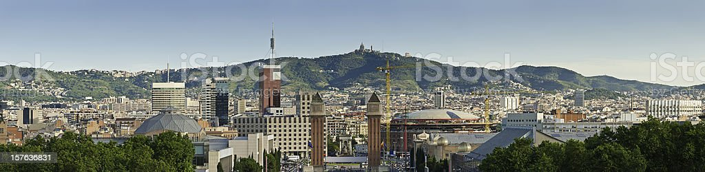 Barcelona Plaça d'Espanya Venetian Towers Fira CaixaForum Montjuïc Catalonia Spain royalty-free stock photo