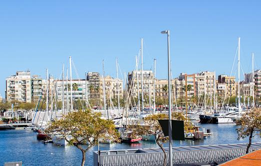 Barcelona port in the morning