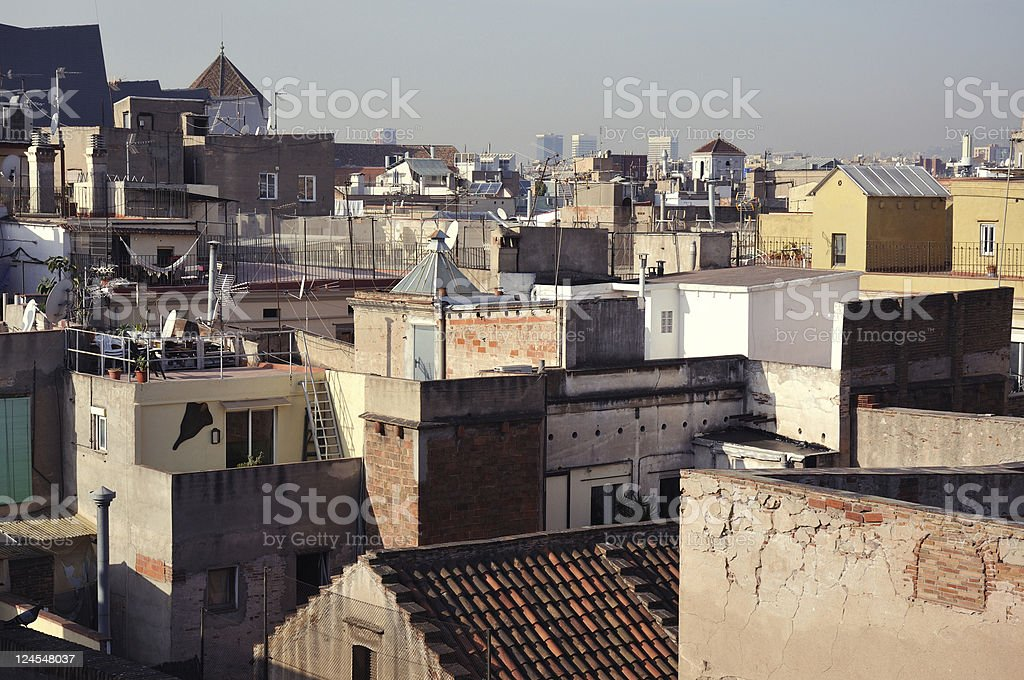 Barcelona roofs stock photo