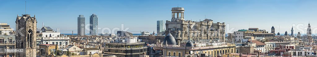 Barcelona rooftop panorama towers and spires Spain stock photo