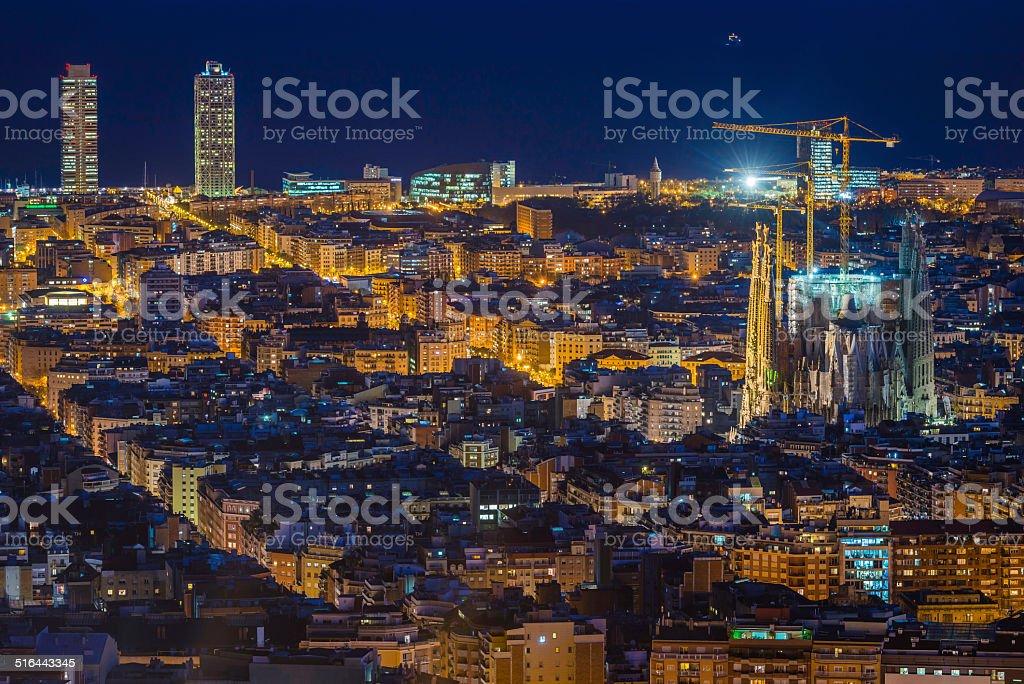 Barcelona Sagrada Familia iconic Gaudi cathedral illuminated at night Spain stock photo