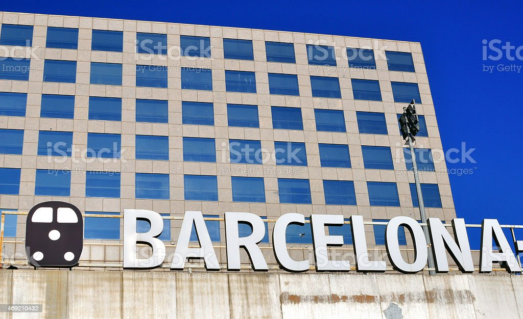Barcelona sign on the Sants railway station royalty-free stock photo