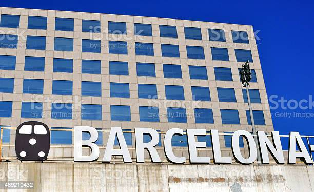Barcelona Sign On The Sants Railway Station Stock Photo - Download Image Now